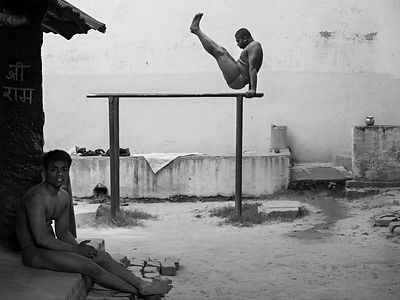 This photograph the budding wrestlers practicing in an akhara (wrestling school) was shot in Varanasi.