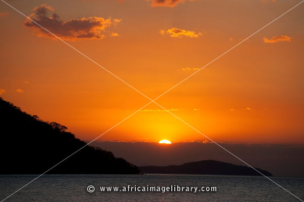Sunset on lake Malawi, Cape Maclear, Malawi