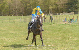 LEVEN, SCOTLAND - APRIL 28, 2018:  Archie Parsons winning a pony race on Milli Butterfly.