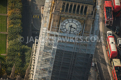 Aerial view of London, Westminster, close up of scaffolding around Elizabeth Tower.