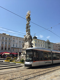 The Trinity Column and LinzLinien Tram