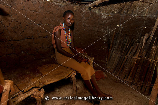 Kikuyu woman in her hut, Ngomongo Village, Kenya