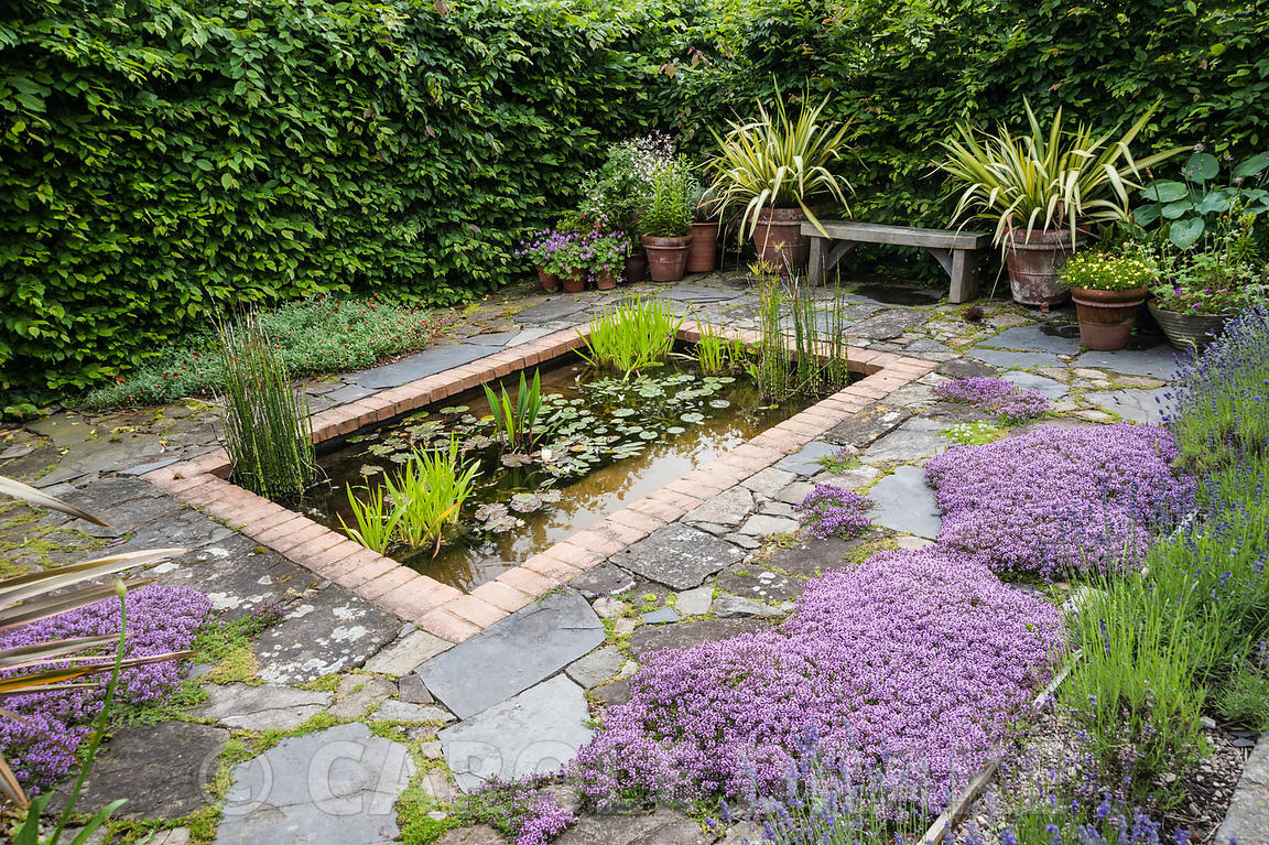 Il Vivaio, a small enclosed garden with a rectangular pond and mediterranean plants including lavenders, thymes and phormiums...