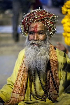 Sweet old baba at Dashashwamedh Ghat, Varanasi, India.