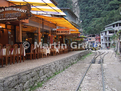 Restaurants lining the railway line at Aguas Calientes, Peru