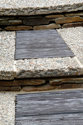 "Steps made from granite chippings with slate insets on each tread. Detail from ""A Cornish Oasis"" garden, RHS Chelsea Flower S..."