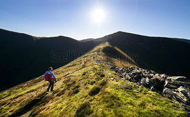 A hiker and their dog walking up towards Ladyside Pike and Hopegill Head on a sunny day in the English Lake District, UK.
