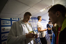Blaz Blagotinsek and Marko Kopljar during the Final Tournament - Final Four - SEHA - Gazprom league, Kids day in Brest, Belar...