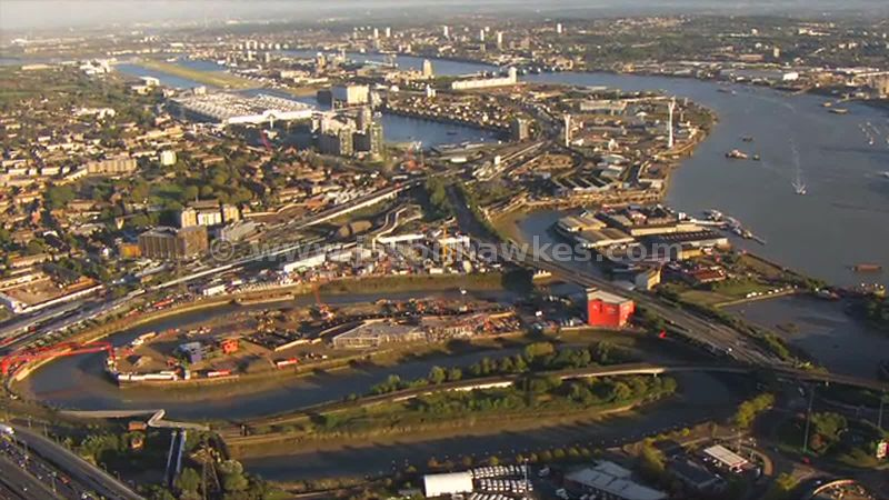 Aerial footage of Leamouth Peninsula, Tower Hamlets, London