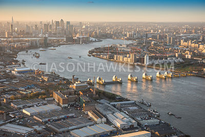 Aerial view of London, Greenwich and Silvertown with Canary Wharf.