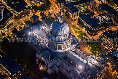 Aerial view of St Paul's Cathedral at night, London