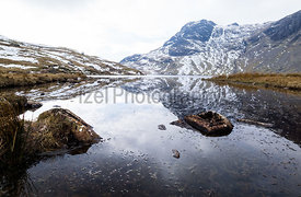 Stickle Tarn, Harrison Stickle and Pavey Ark, Great Langdale in the Lake District.