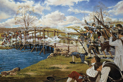 Battle of Concord: militia fire on minutemen on bridge