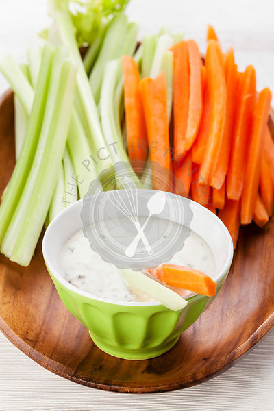 Snack with Assorted fresh vegetables and yoghurt