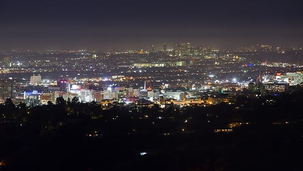 Wide Shot: Dolly Of The Lights Of Downtown L.A. & Hollywood Boulevard