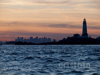 the Boston skyline and Boston Light