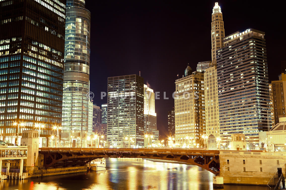 State Street Bridge at Night in Chicago