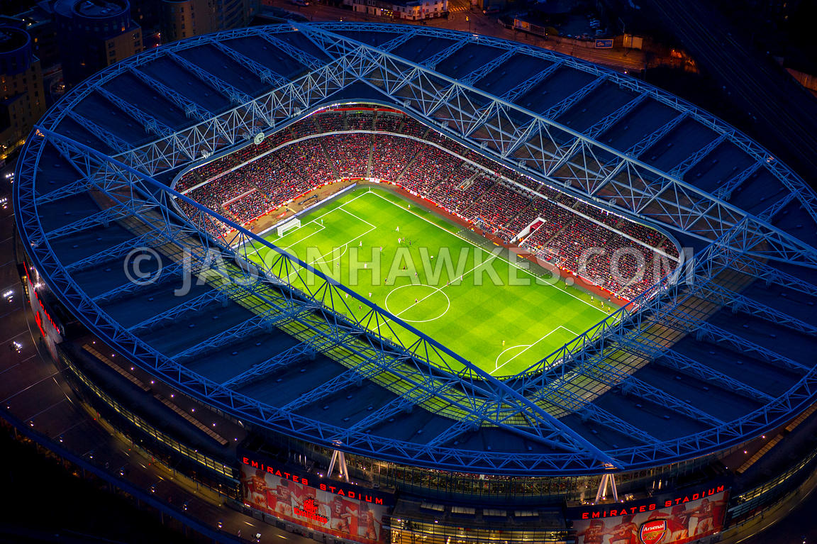 Aerial view of Emirates Stadium at night, Highbury, London