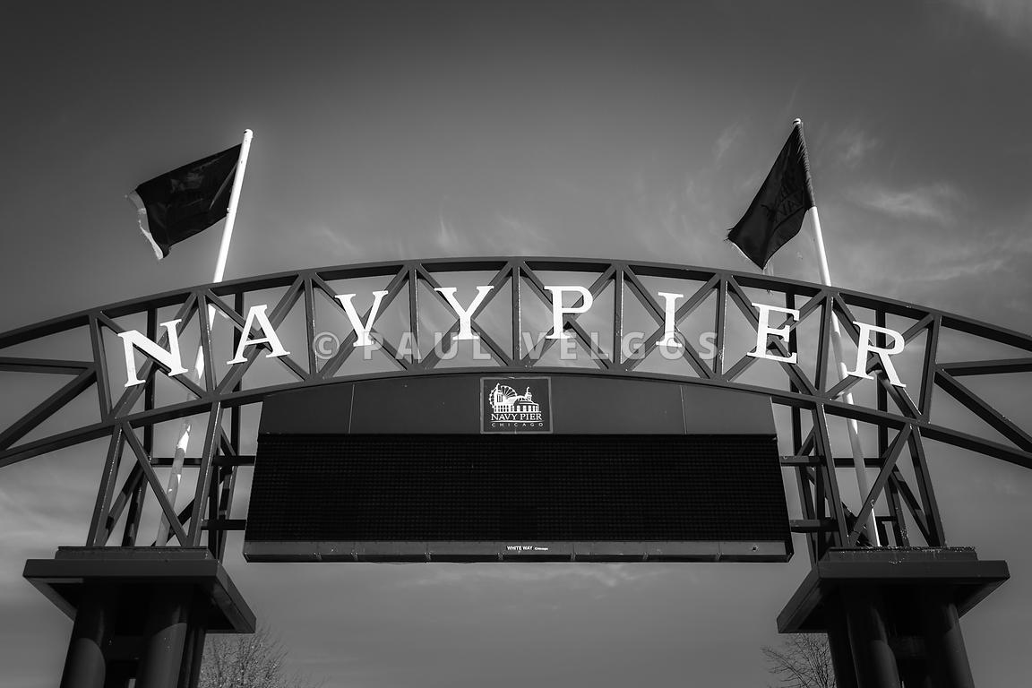Chicago Navy Pier Sign in Black and White