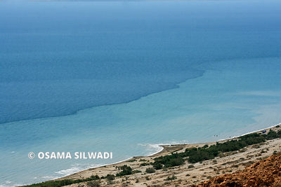 A view of the Dead Sea, the lowest place on earth, from the Palestinian side.