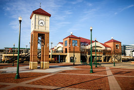 Peoria Illinois Riverfront Businesses and Clock Tower