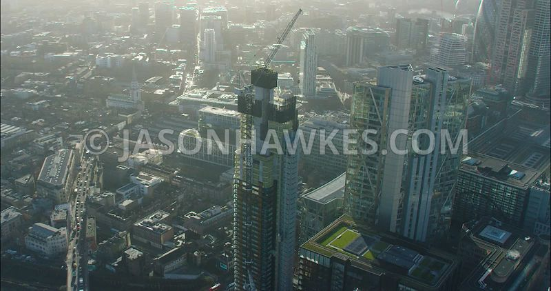 London Aerial footage, Broadgate Tower with Principal Place under construction.