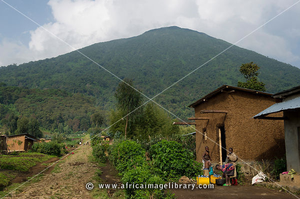 Village at the base of Mount Bisoke, Volcanoes National Park, Rwanda