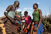 Traditional Karamojong dancing in a village, northern Uganda