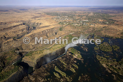 Victoria Falls (Mosi-oa-Tunya) from the air, showing the zig-zagging gorges south of the Victoria Falls Bridge and Victoria F...