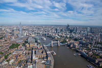 London, aerial view of Tower Bridge