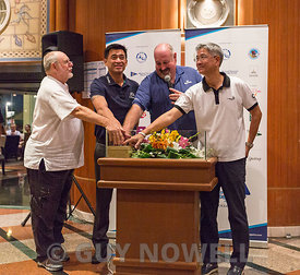 Mr Bill Gasson, Co-Chairman TOG 2018; Mr Surapol Utintu, VP External Affairs, Thai Beverage; Mr Scott Finsten, Ocean Marina H...