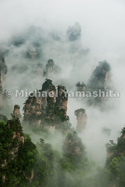 Wulingyuan National Forest Park, China's oldest National Park and World Heritage Site, pics of Tianzi Mountain area in rain a...