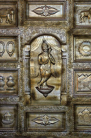 Carved metal door in the Nareli Jain temple, Ajmer, Rajasthan, India