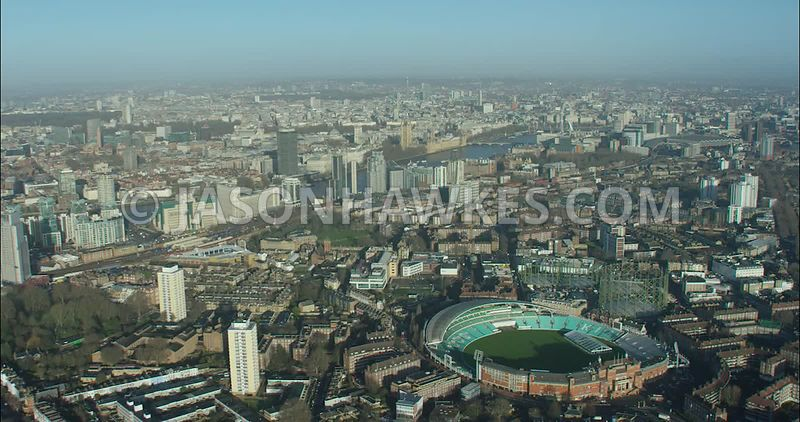 London Aerial footage, Oval Cricket Ground with Vauxhall.