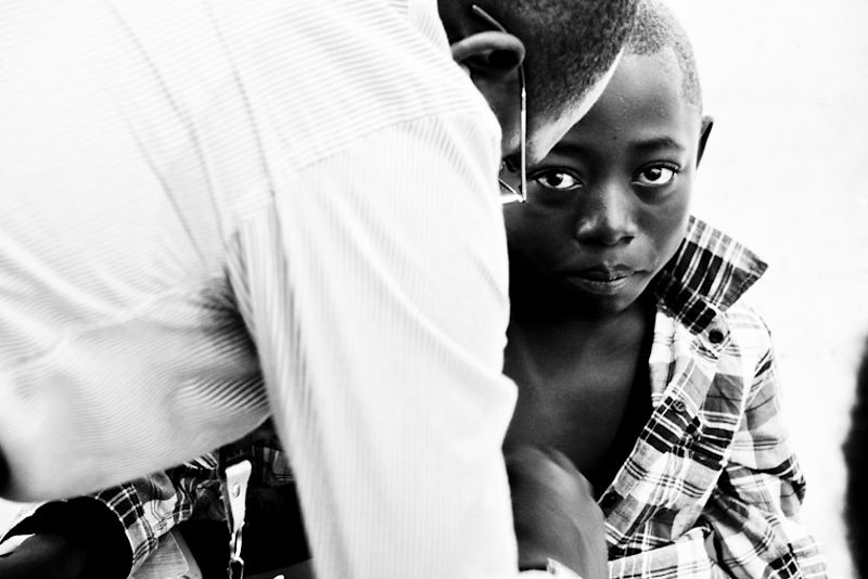 A young boy is treated at the clinic. Episodes of pain during a sickle cell crisis are one of the most common and upsetting s...