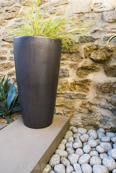 Contemporary courtyard garden designed by Amir Schlezinger. Black container planted with Hakonechloa macra 'Aureola' with Aga...