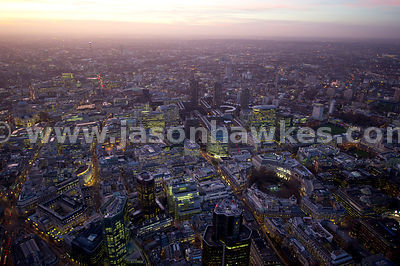 Aerial view over Finsbury Circus at dusk, London