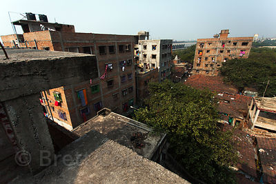 Rooftop view of apartments in the Fakir Bagan area of Howrah, India, sister city to Kolkata.