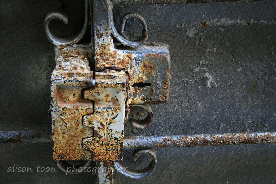 Ancient and rusty metal lock on a doorway in Jaffa (Japho or Joppa), Israel