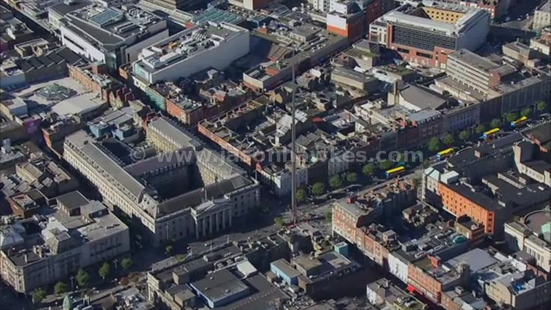 Aerial footage of O'Connell Street, Dublin