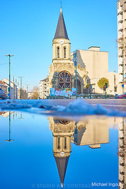 09-02-18_colombes_neige_puddle_eglise_clocher_horloge_Instagram