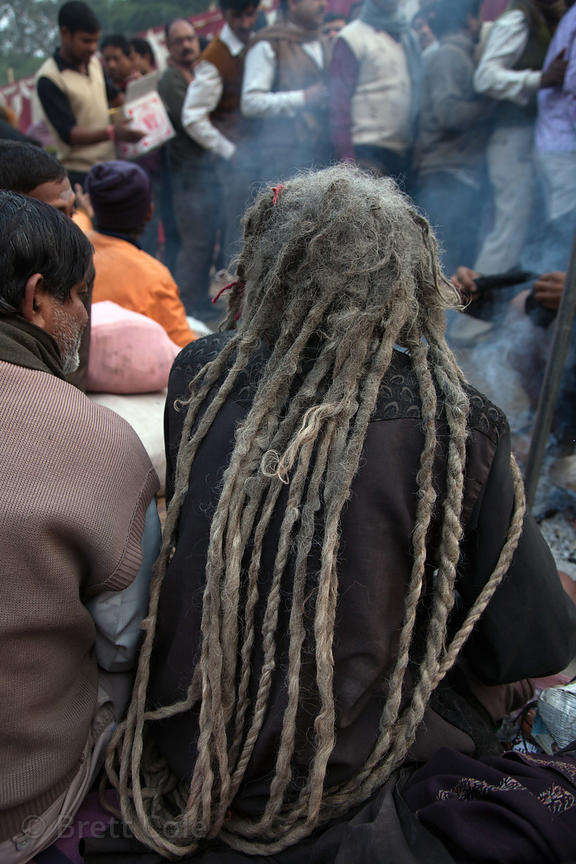 A sadhu (holy man) with long dreadlocks at a staging area in Kolkata, India for pilgrims going to the Gangasagar Mela on Saga...