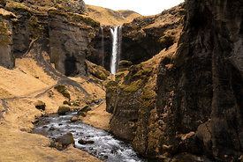 A scenic waterfall on the south west coast of Iceland.