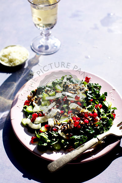 Kale Wild Rice Salad photographed on a violet background