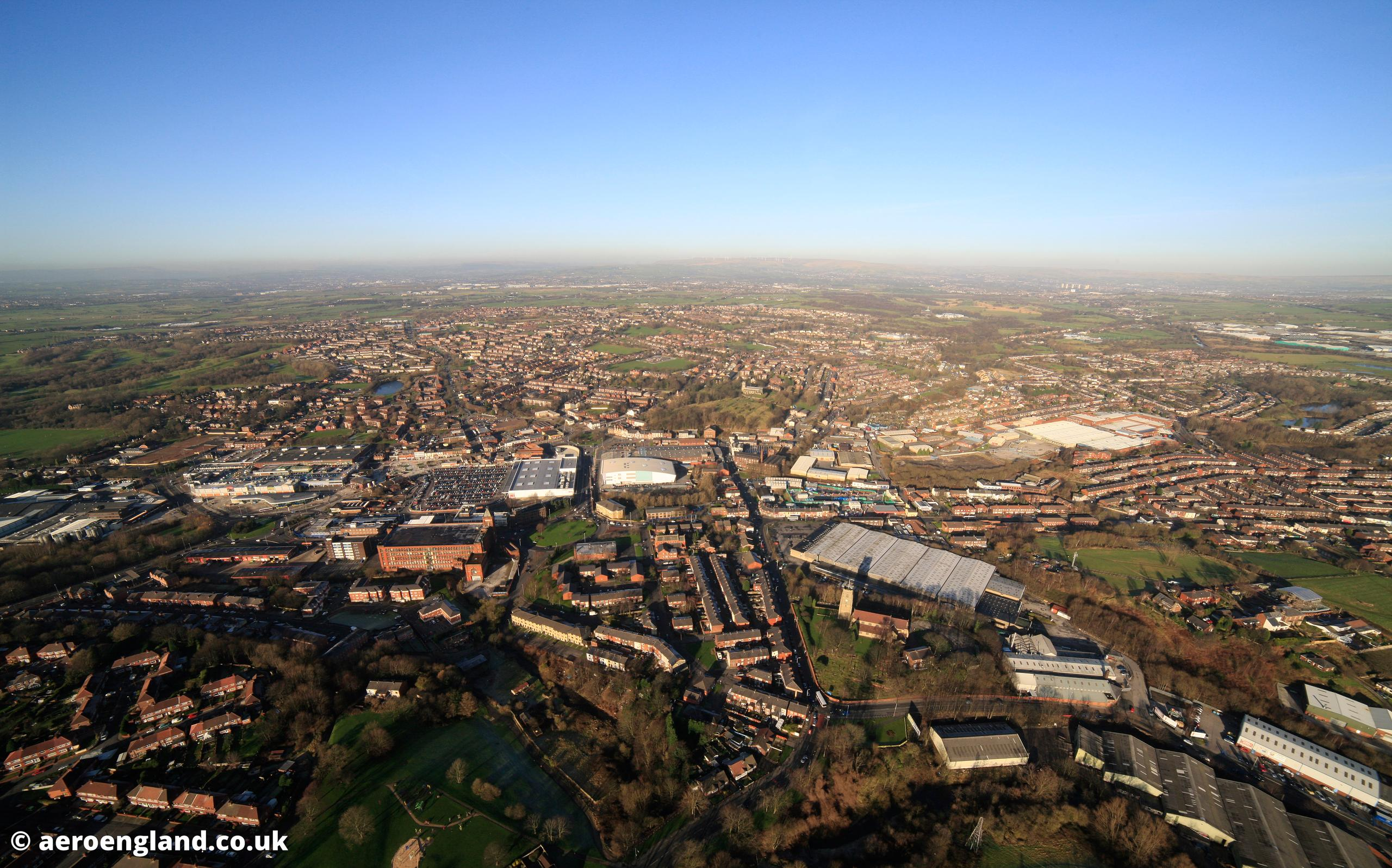 aerial photograph of Middleton Greater Manchester England UK