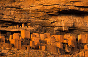 Abandoned cliff dwellings on the Bandiagara escarpment above Telí village, Dogon Country, Mali