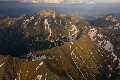 Aerial view of the massif of Mount Gerlach (2,665m) the highest peak of the Tatras, High Tatras, Carpathian Mountains, Slovak...