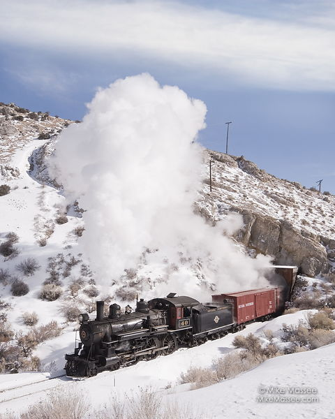 Nevada Northern Railway Engine #40 w/boxcar train and tunnel #1