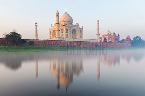 Reflection of the Taj Mahal in the Yamuna River at Sunrise