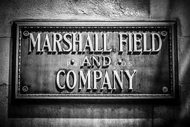 Chicago Marshall Field Sign in Black and White